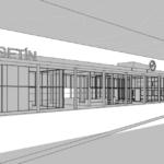 Skica budovy nádraží při pohledu z peronu.