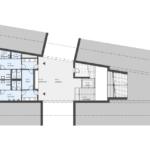 Návrh interiéru nádražní budovy v prvním podzemním podlaží s návazností na podchody - nahoře pod perony a k Lapači, dole k obchodní galerii.