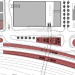 Blišží pohled na řešení přednádraží - dole jsou perony, nad nimi nová nádražní budova a nahoře obchodní galerie. Vpravo parkovací dům.